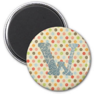 Personalized Art Letter W 2 Inch Round Magnet