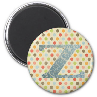 Personalized Art Letter Z 2 Inch Round Magnet