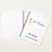 Personalized Art Teacher Rainbow Watercolor Artist Planner