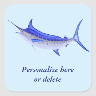 Personalized Artistic Blue Marlin Fish Square Sticker