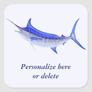 Personalized Artistic Blue Marlin Fish (white) Square Sticker