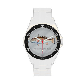 Personalized Artistic Redfish (brushed gray) Watches