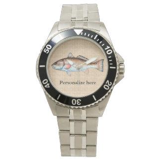 Personalized Artistic Redfish Wristwatch