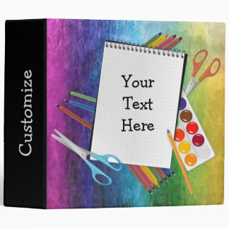 Personalized Artsy Craft Supplies Rainbow Binder