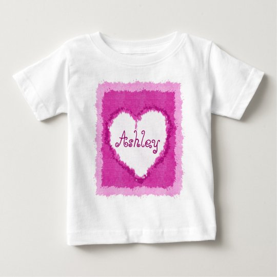 Personalized Ashley Watercolor Heart Baby T-Shirt