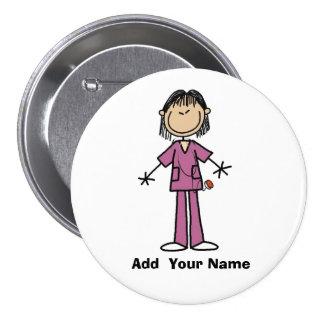 Personalized Asian Stick Figure Nurse  Button