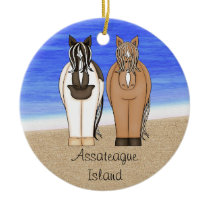 Personalized Assateague Island VA Ponies Horse Ceramic Ornament