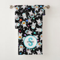 Personalized Astronaut Cats Outer Space Kittens Bath Towel Set