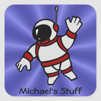 Personalized Astronaut in Space Square Sticker
