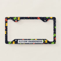 Personalized Autism Awareness Puzzles Pattern  License Plate Frame