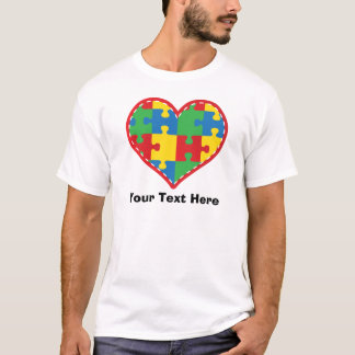 Personalized Autism Puzzle Piece Heart T-Shirt