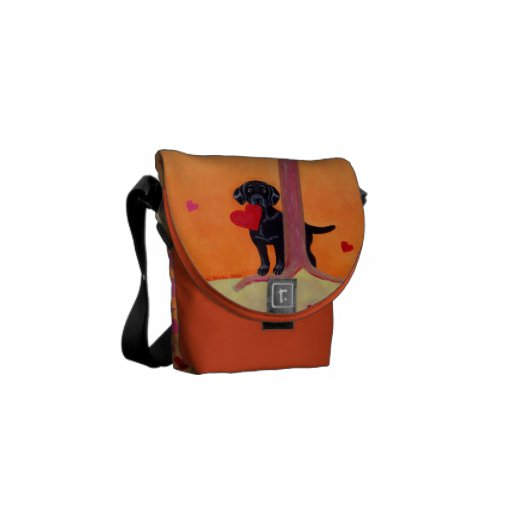 Personalized Autumn Color Black Labrador Courier Bag