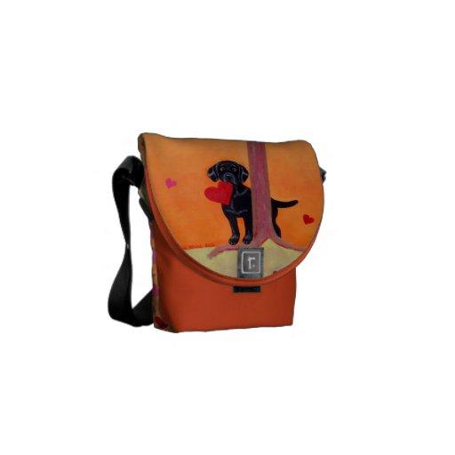 Personalized Autumn Color Black Labrador Courier Bag