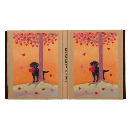 Personalized Autumn Color Black Labrador iPad Folio Cases