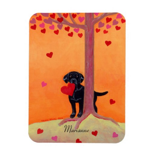Personalized Autumn Color Black Labrador Magnet