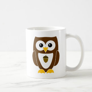 Personalized Autumn Owl with Acorn on Belly Mug