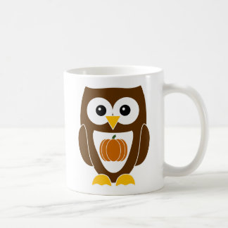 Personalized Autumn Owl with Pumpkin on Belly Mug