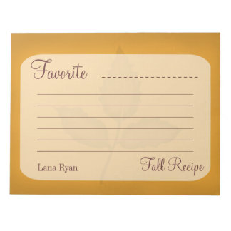 Personalized Autumn Recipe Notepad - Fall Theme