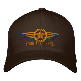 Personalized Aviation Star Laurels Pilot Wings Embroidered Baseball Cap