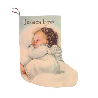Personalized Baby Angel Wings Double sided Small Christmas Stocking