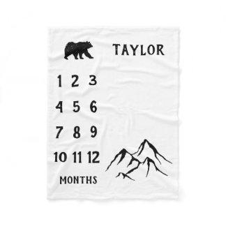 Personalized Baby Bear Milestone Baby Boy Blanket
