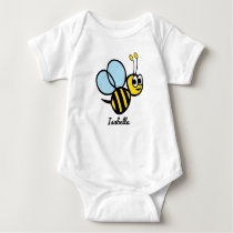 Personalized Baby Bee Cute Yellow Bumblebee Baby Bodysuit
