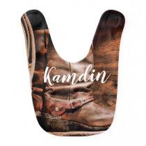 Personalized Baby Bib Cowboy Boots Barn Wood Rusti