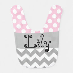 Personalized baby bib in pink