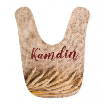 Personalized Baby Bib Wheat on Burlap Sack Country