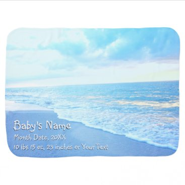 Personalized Baby Blanket, Beach Themed Baby Room Stroller Blanket