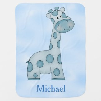 Personalized Baby Blanket Blue Giraffe