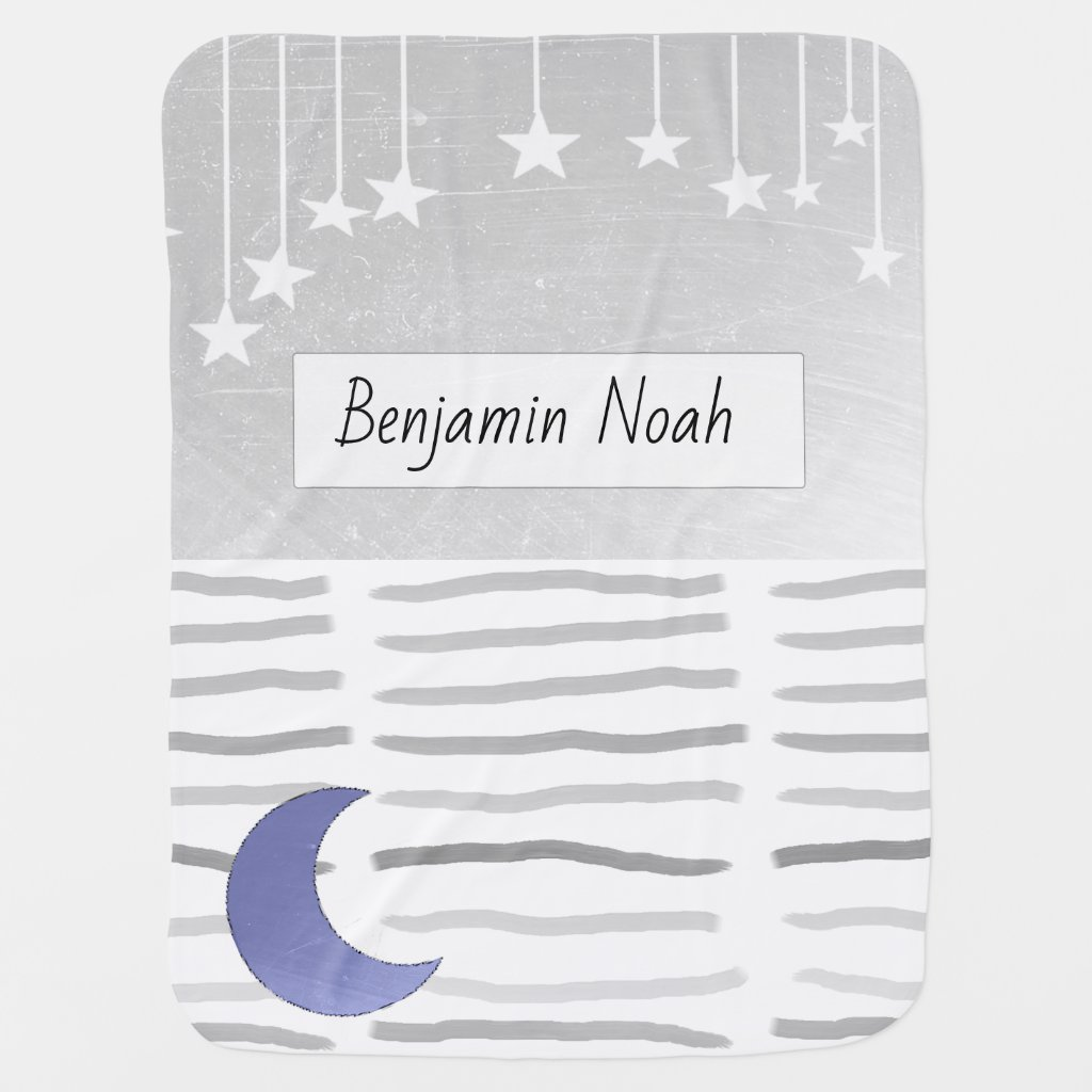 Personalized Baby Blanket Moon and Stars themed