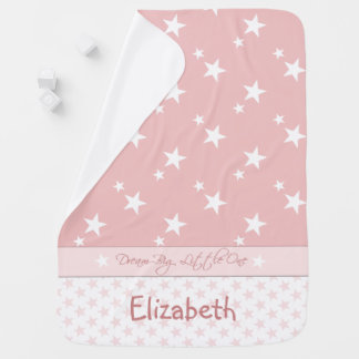 Personalized Baby Blanket Pink with white stars