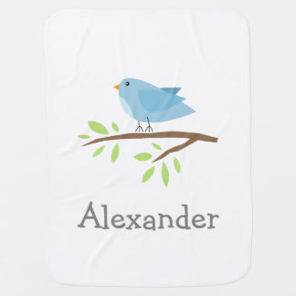 Personalized baby blanket with cute blue bird