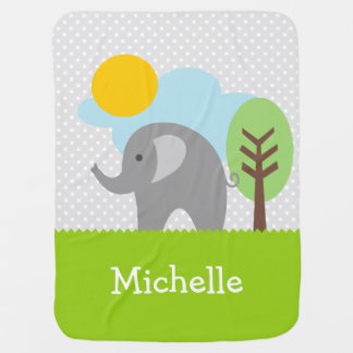 Personalized baby blanket with cute grey elephant