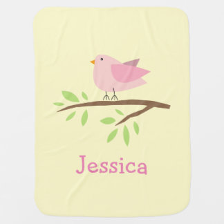 Personalized baby blanket with cute pink bird
