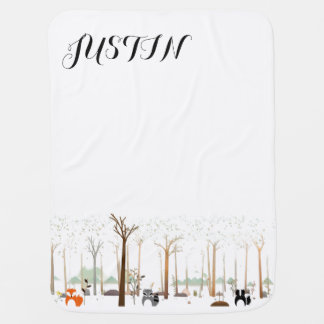 Personalized Baby Blanket - Woodland Creatures