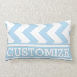 Personalized Baby Blue Chevron Pattern Lumbar Pillow
