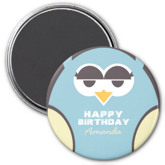Personalized Baby Blue Owl Cartoon Magnet for Kids
