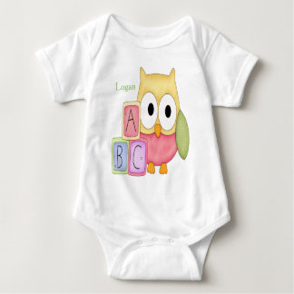 Personalized Baby Bodysuit Owl Baby Blocks