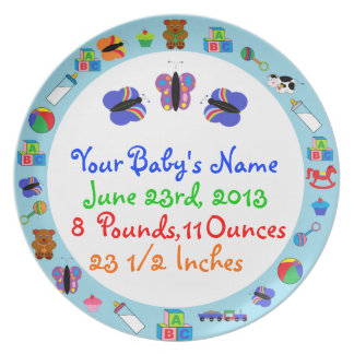 PERSONALIZED Baby Boy Birth Announcement Plate