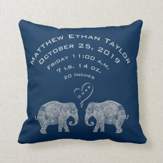 Personalized Baby Boy Birth Record Stats Elephant Throw Pillow