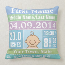 Personalized Baby Boy Birth Stats Pillow