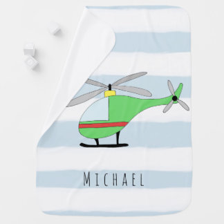 Personalized Baby Boy Colorful Helicopter and Name Receiving Blanket
