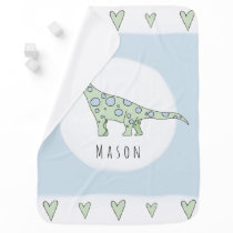 Personalized Baby Boy Doodle Dinosaur with Name Swaddle Blanket
