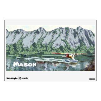 Personalized Baby Boy Mountain Bush Plane Fishing Wall Sticker