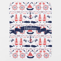 Personalized Baby Boy Navy Nautical Navy Anchor Receiving Blanket
