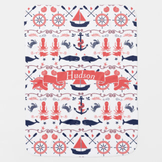 Personalized Baby Boy Navy Nautical Navy Anchor Stroller Blankets