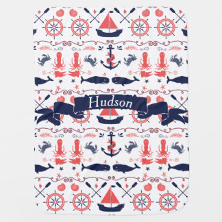 Personalized Baby Boy Navy Nautical Navy Anchor Stroller Blanket