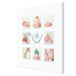 PERSONALIZED BABY BOY PHOTO COLLAGE WITH WREATH CANVAS PRINT